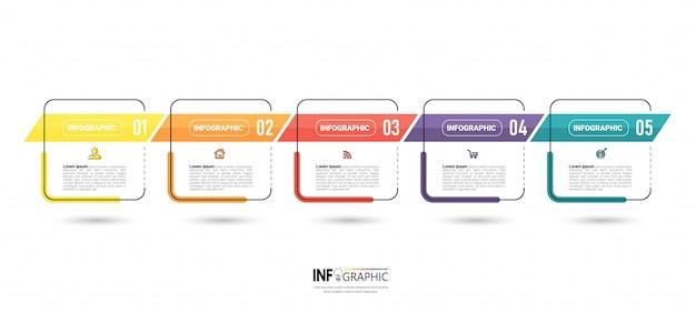 Fünf schritte zeitleiste infografik design Premium Vektoren