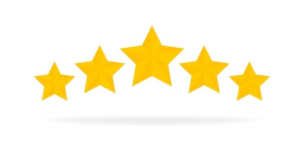Fünf sterne bewertung gold symbol. 3d-cartoon-spiel design-ui-elemente. gewinnen sie preise, ratting, award, erfolgskonzept. illustration. Premium Vektoren
