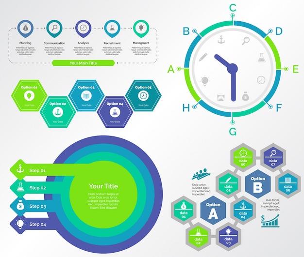 Fünf teamwork charts vorlagen set Kostenlosen Vektoren