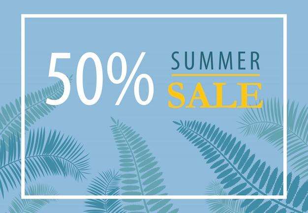 Fünfzig-prozent-sommer-verkauf-banner-design. tropische blattschattenbilder auf blauem hintergrund. Kostenlosen Vektoren