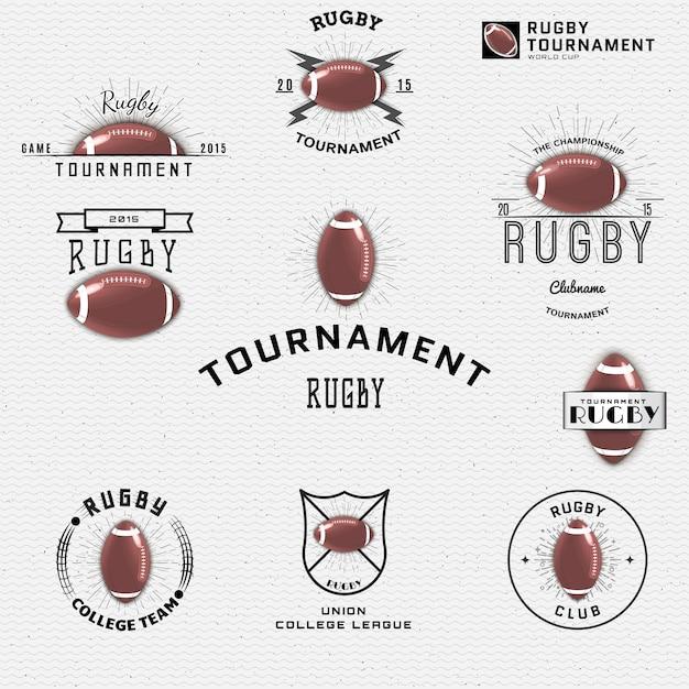 Für das design können logos und labels mit rugby-logos verwendet werden Premium Vektoren