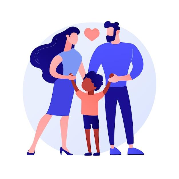 Fürsorgliche adoptivväter abstrakte konzeptvektorillustration. pflege, vater in adoption, glückliche interrassische familie, spaß haben, zusammen zu hause, kinderlose paar abstrakte metapher. Kostenlosen Vektoren