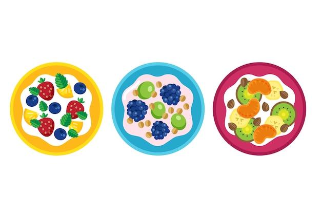 Fuits und salatschüsseln sammlung design Kostenlosen Vektoren