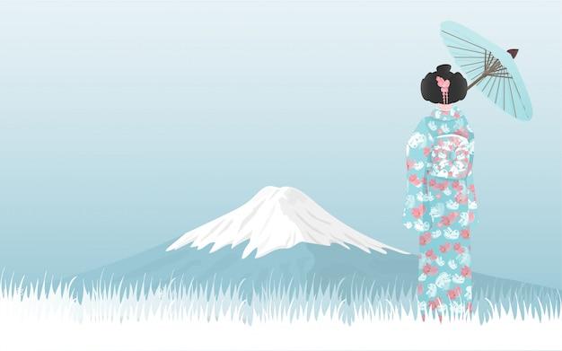Fuji-berg mit japanischer frau im kimonokleid, welches die ansicht betrachtet. Premium Vektoren