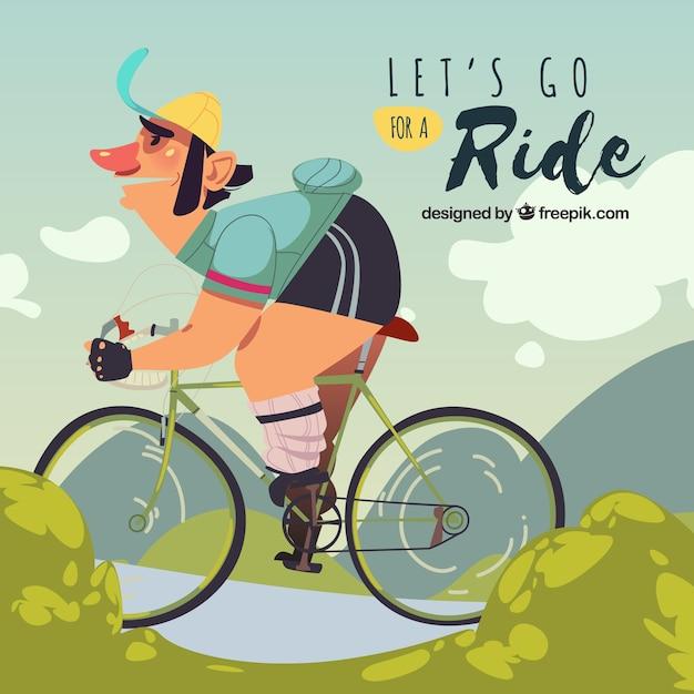 Fun charakter reiten fahrrad Kostenlosen Vektoren