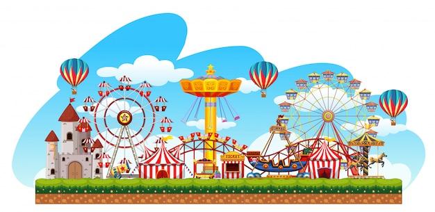 Fun fair amüsement szene Premium Vektoren