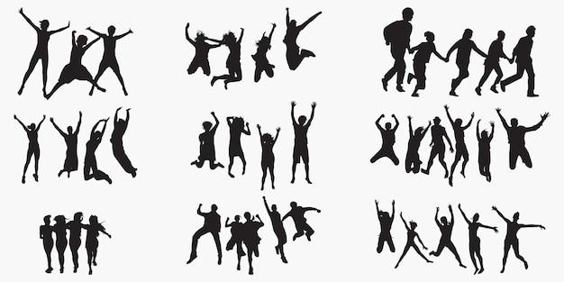 Fun group silhouetten Premium Vektoren