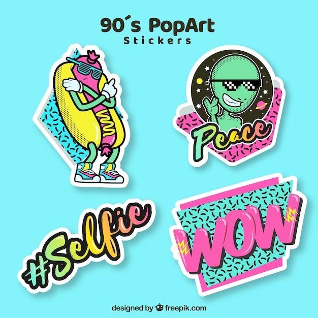 Fun pack von pop art aufkleber Kostenlosen Vektoren
