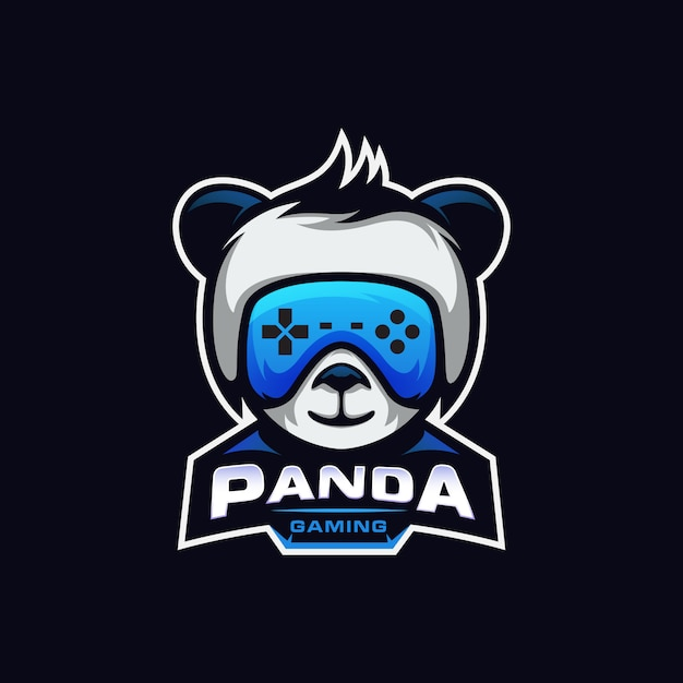 Fun panda gaming logo esport Premium Vektoren