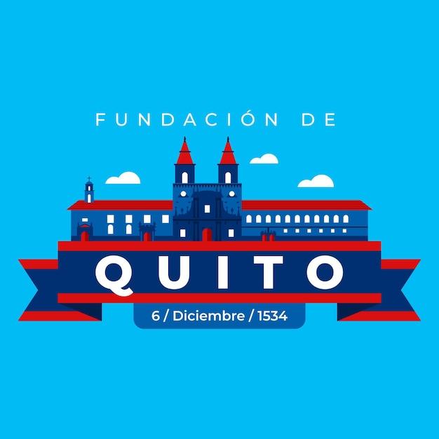 Fundacion de quito auf blauem hintergrund Kostenlosen Vektoren