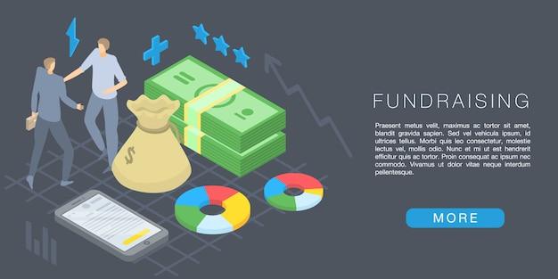 Fundraising-konzept banner, isometrische stil Premium Vektoren