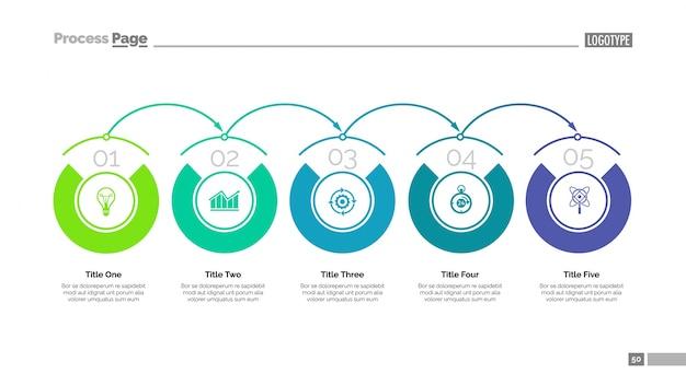 Fünf Schritte der Entwicklung Folie Vorlage. Geschäftsdaten graph ...