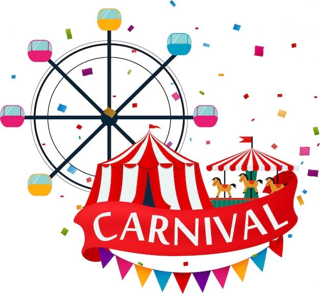 Funfair und karneval hintergrund Premium Vektoren