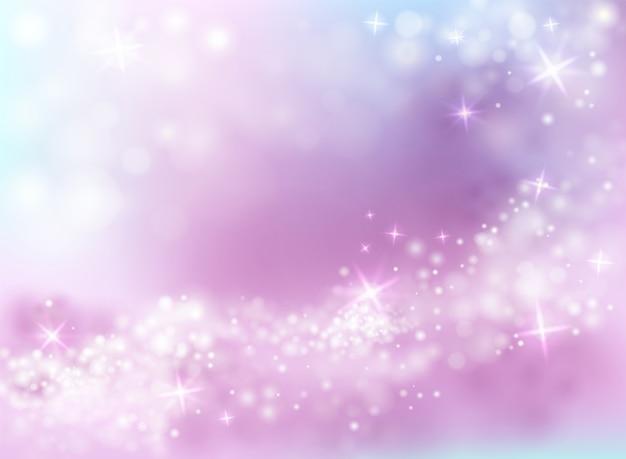 Funkelnde helle Glanzillustration des purpurroten und blauen Hintergrundes des Himmels mit funkelnden Sternen Kostenlose Vektoren