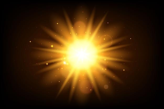 Funkelnder sonnenaufgang-lichteffekt Kostenlosen Vektoren