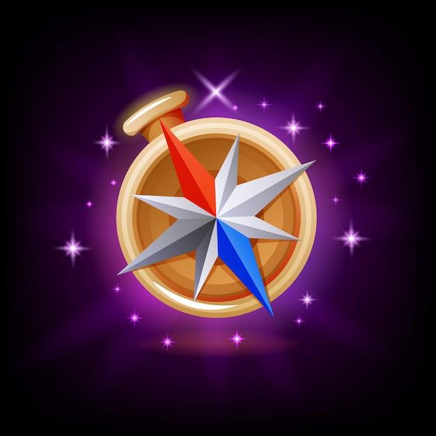 Funkelndes kompass-gui-gaming oder symbol für mobile apps bei dunkelheit Premium Vektoren