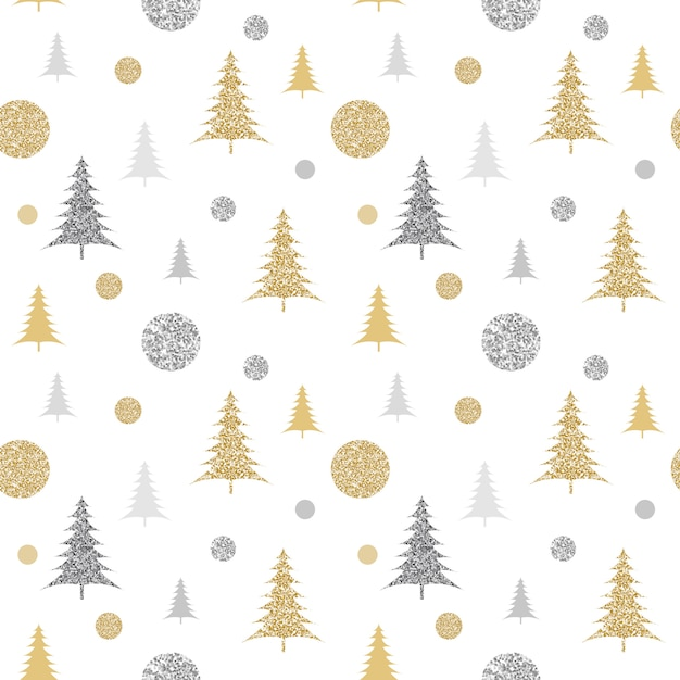 Funkelndes weihnachtsmuster mit tannenbäumen Premium Vektoren