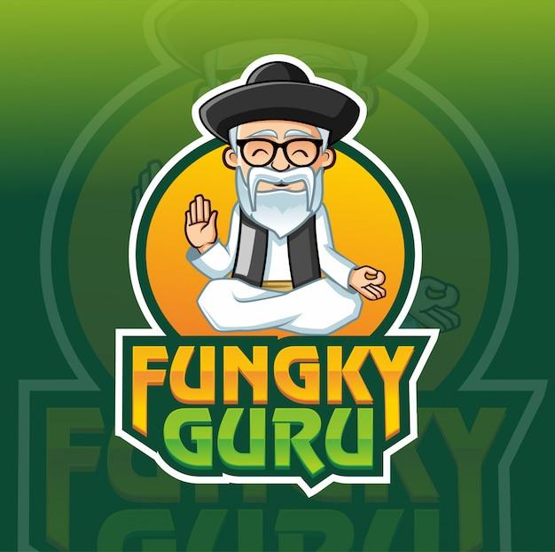Funky guru maskottchen logo vorlage Premium Vektoren