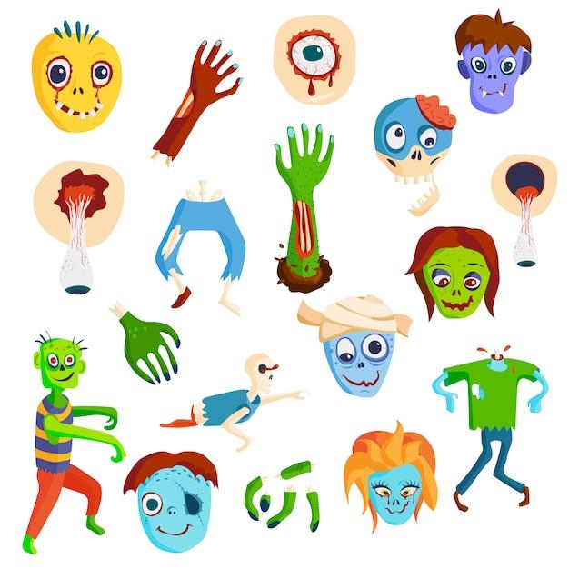 Furchtsame karikaturelemente des bunten zombies und magische zombieleutekörper-karikaturspaßgruppe Premium Vektoren