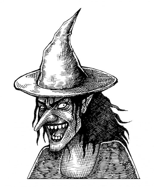 Furchtsame lächelnde hexe, hand gezeichnet Premium Vektoren