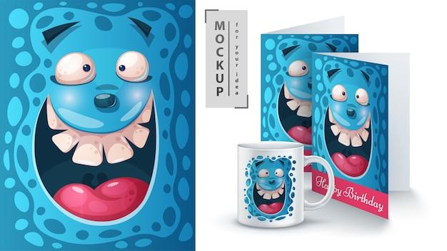 Furchtsame monsterillustration Premium Vektoren