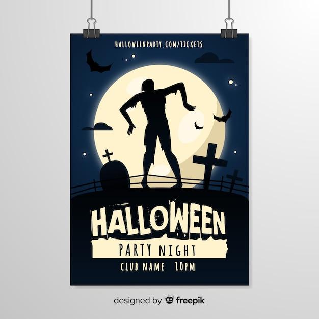 Furchtsame zombie silhouette halloween flyer vorlage Kostenlosen Vektoren