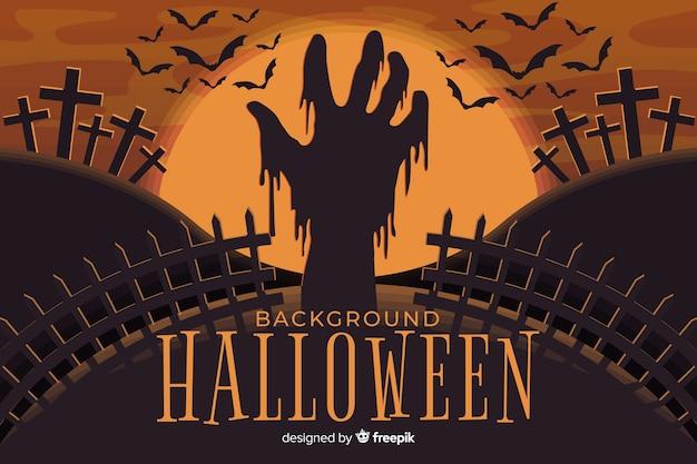 Furchtsame zombiehand im halloween-hintergrund Kostenlosen Vektoren