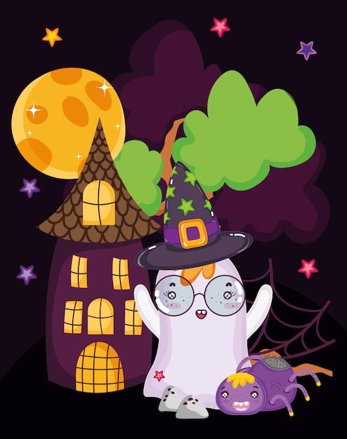 Furchtsames halloween des geisterspinnenhauses Premium Vektoren