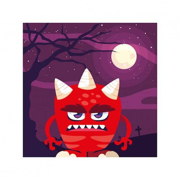 Furchtsames monster in der halloween-nacht, verärgertes monster Premium Vektoren
