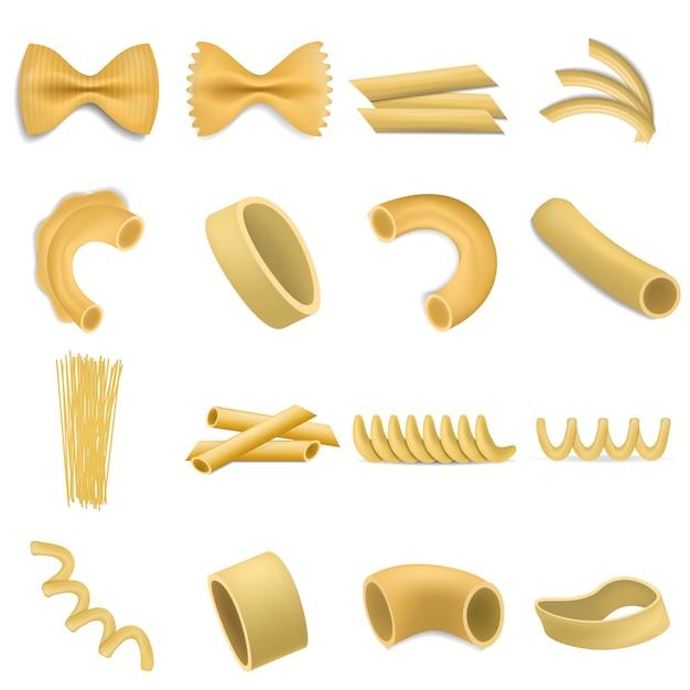 Fusilli pasta penne mockup set. realistische darstellung von 16 fusilli-pasta-penne-modellen für das web Premium Vektoren
