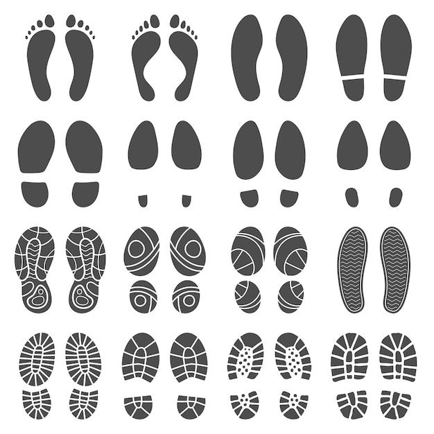 Fußabdrücke silhouetten. Premium Vektoren