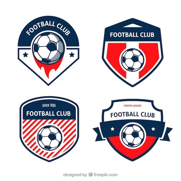 Fußball-abzeichen eingestellt Kostenlosen Vektoren