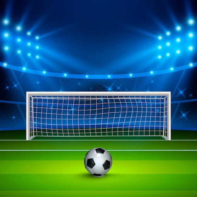 Fußball auf grünem fußballfeld auf stadion, arena in der nacht beleuchtete helle scheinwerfer. Premium Vektoren
