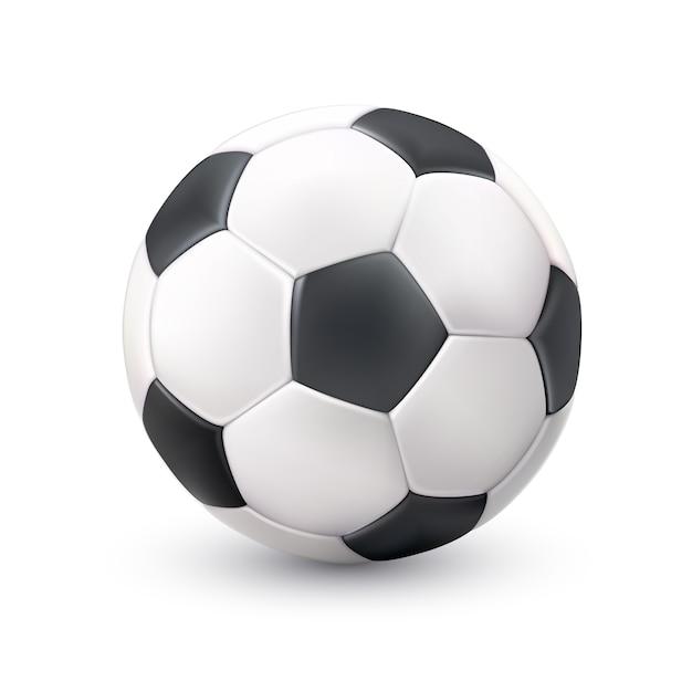 Fußball ball realistische weiß schwarz bild Kostenlosen Vektoren