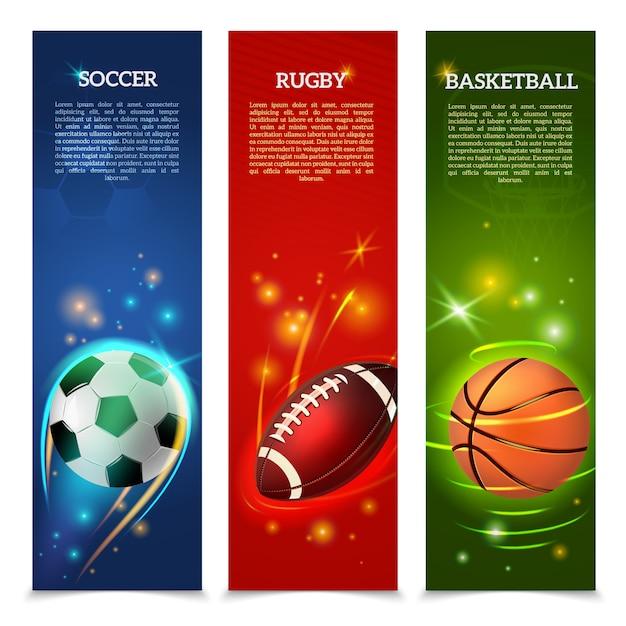 Fußball-banner eingestellt Kostenlosen Vektoren