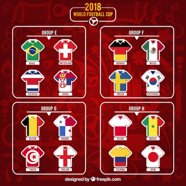 Fußball-Cup-Gruppen im flachen Stil Kostenlose Vektoren