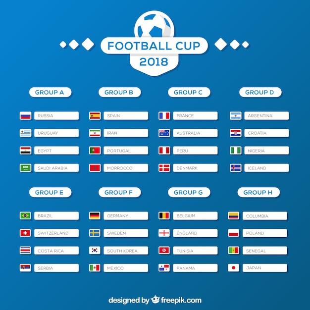Fußball-cup-gruppen im flachen stil Kostenlosen Vektoren