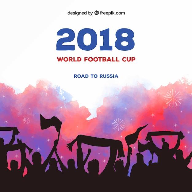 Fußball-Cuphintergrund des Fußballs 2018 mit Menge Kostenlose Vektoren