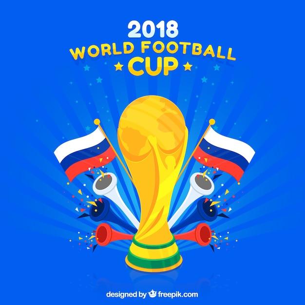 Fußball-Cuphintergrund des Fußballs 2018 Kostenlose Vektoren