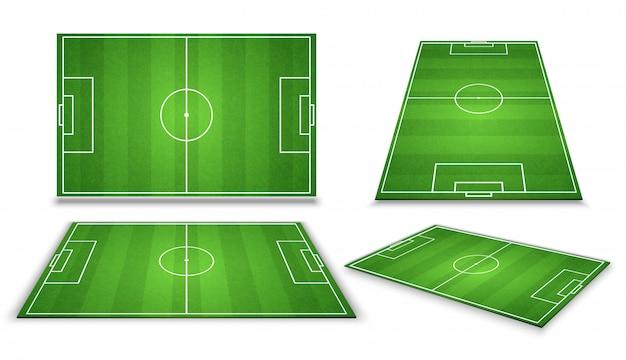 Fußball, europäischer fußballplatz in der unterschiedlichen perspektiveansicht. isolierte vektorabbildung Premium Vektoren