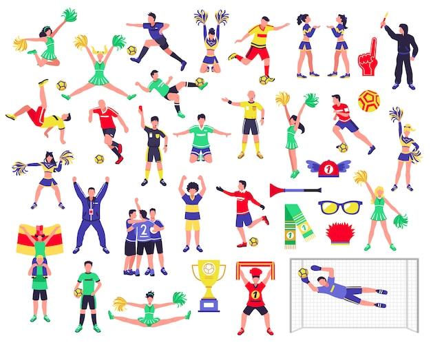 Fußball-fan-charaktere eingestellt Kostenlosen Vektoren