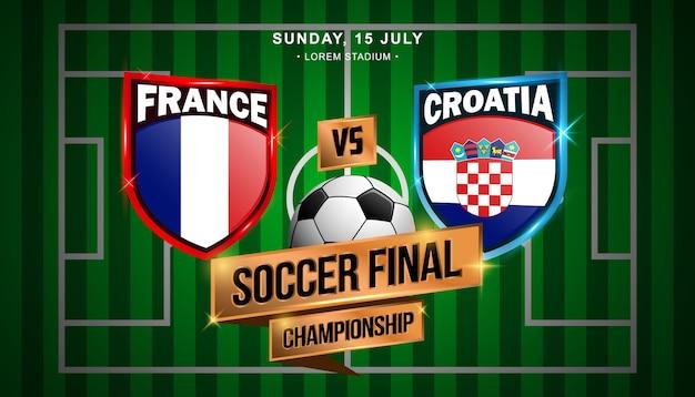Fussball finale zwischen frankreich und kroatien Premium Vektoren