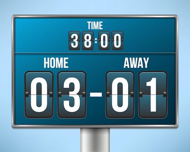Fußball, fußball anzeigetafel, countdown. Premium Vektoren