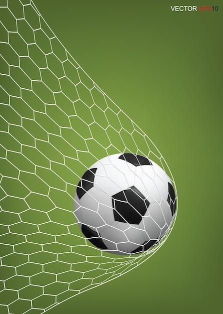 Fussball Fussball Ball Im Fussballtor Premium Vektor