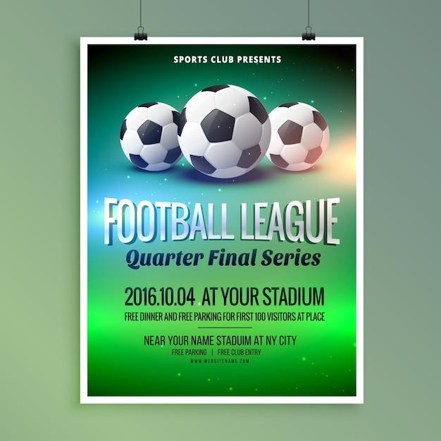 Fußball Fußball-Liga Ereignis-Flyer Poster Design-Vorlage Kostenlose Vektoren