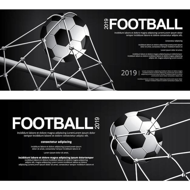 Fußball-fußball-plakat-vektor-illustration mit zwei fahnen Premium Vektoren