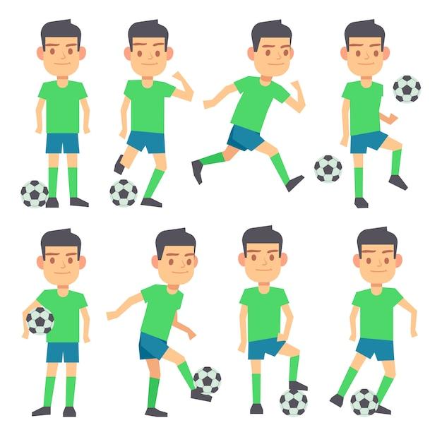 Fußball, fußballspieler, die ballsatz flache charaktere spielen. stürmer und mittelfeldspieler Premium Vektoren