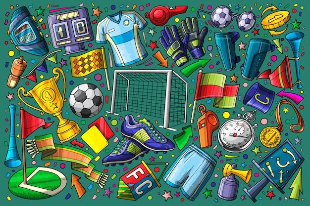 Fußball, gesetzte vektorillustration des fußballgekritzels Premium Vektoren