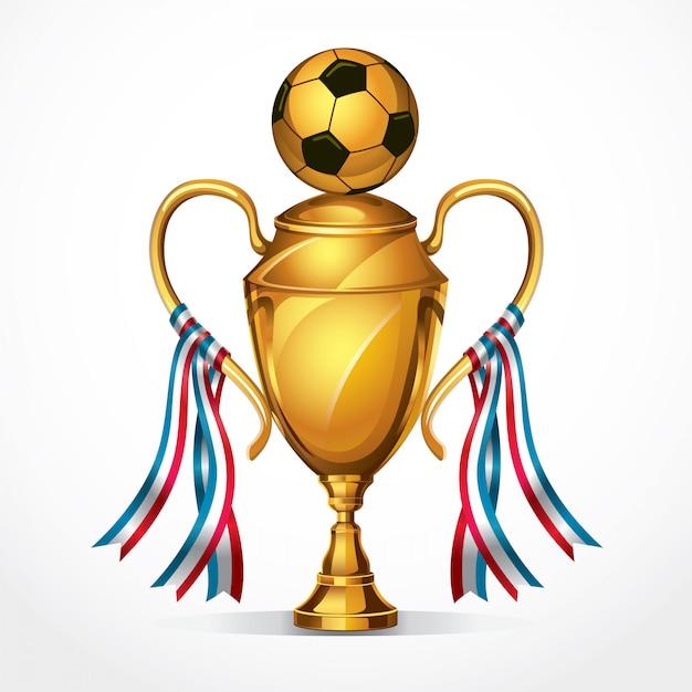 Fußball golden award trophäe und band. vektor-illustration Premium Vektoren