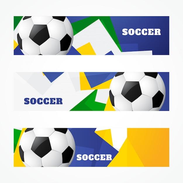 Fußball-header gesetzt Premium Vektoren